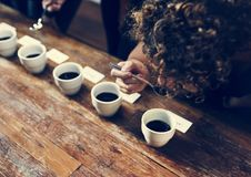 Types of coffee placed to taste or smell stock photos