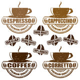 Types of coffee stamps Royalty Free Stock Image