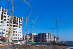 Types of construction of city buildings Royalty Free Stock Image