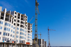 Types of construction of city buildings royalty free stock images