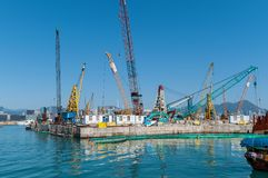 Types of cranes in the port stock photo
