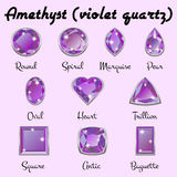 Types of cuts of Amethyst. Set of different types of cuts of precious stone Amethyst in realistic shapes in violet color with silver edging. Vector illustration vector illustration