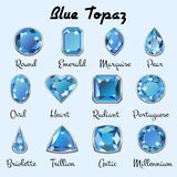 Types of cuts of blue Topaz Royalty Free Stock Images