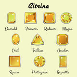 Types of cuts of Citrine Stock Image