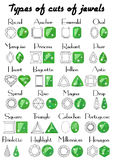 Types of cuts of jewels Royalty Free Stock Photography