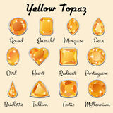 Types of cuts of yellow Topaz Stock Image