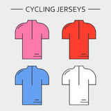 Types of cycling jerseys Stock Photo