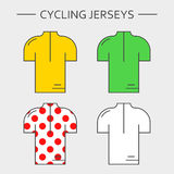 Types of cycling jerseys Royalty Free Stock Photo