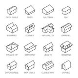 Types d'ensemble de vecteur d'icônes de toits d'isolement dans le fond illustration de vecteur