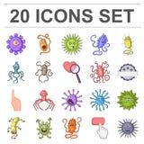 Types d'icônes drôles de bande dessinée de microbes dans la collection d'ensemble pour la conception Web pathogène d'actions de s Images libres de droits