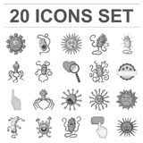 Types d'icônes monochromes de microbes drôles dans la collection d'ensemble pour la conception Web pathogène d'actions de symbole Photographie stock libre de droits