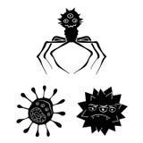 Types d'icônes noires de microbes drôles dans la collection d'ensemble pour la conception Web pathogène d'actions de symbole de v illustration stock