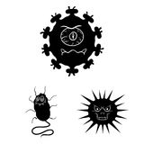 Types d'icônes noires de microbes drôles dans la collection d'ensemble pour la conception Web pathogène d'actions de symbole de v illustration libre de droits