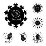 Types d'icônes noires de microbes drôles dans la collection d'ensemble pour la conception Web pathogène d'actions de symbole de v illustration de vecteur