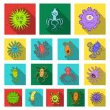 Types d'icônes plates de microbes drôles dans la collection d'ensemble pour la conception Web pathogène d'actions de symbole de v Photographie stock