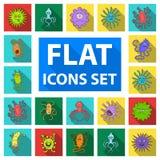 Types d'icônes plates de microbes drôles dans la collection d'ensemble pour la conception Web pathogène d'actions de symbole de v Photos stock