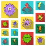 Types d'icônes plates de microbes drôles dans la collection d'ensemble pour la conception Web pathogène d'actions de symbole de v Photos libres de droits