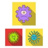 Types d'icônes plates de microbes drôles dans la collection d'ensemble pour la conception Web pathogène d'actions de symbole de v illustration stock