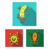 Types d'icônes plates de microbes drôles dans la collection d'ensemble pour la conception Web pathogène d'actions de symbole de v illustration de vecteur