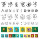 Types d'icônes plates de microbes drôles dans la collection d'ensemble pour la conception Web pathogène d'actions de symbole de v illustration libre de droits