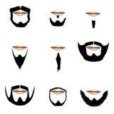 Types de barbe et de cheveu facial en silhouette de vecteur Photographie stock