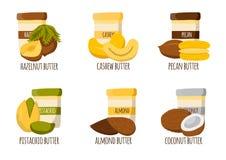 Types de beurre d'écrou illustration libre de droits