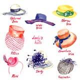 Types de chapeaux du ` s de Madame Photographie stock libre de droits