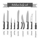 Types de couteaux de cuisine réglés Image stock
