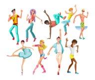 Types de danse, filles, dans des styles modernes, types, avec différents mouvements illustration libre de droits
