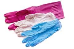 Types de différentes épaisseurs de gants protecteurs pour le ménage, jardinage, nettoyant, médecine image libre de droits