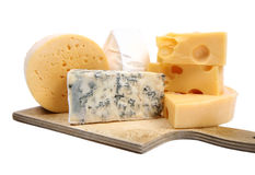 Types de fromage d'isolement Image stock