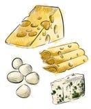 Types de fromage réglés du mozzarella de croquis Photographie stock libre de droits