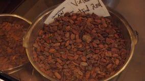 Types de haricots de chocolat banque de vidéos