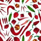 Types de poivrons de piments rouges de modèle sans couture eps10 de collection colorée simple de piments chauds Photographie stock libre de droits