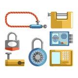Types de serrures de porte les différents, les verrous de cadenas ou les clés electonic dirigent les icônes plates illustration de vecteur