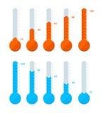 Types de signes de thermomètre différents réglés Vecteur illustration libre de droits
