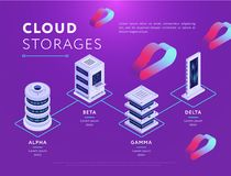 Types de stockages de nuage sur le rose illustration de vecteur