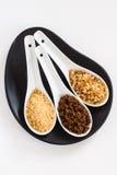 Types de sucre de canne brun Image stock