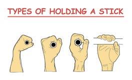 Types de tenir un bâton la combinaison quatre des positions de main imitent la barre horizontale tenant une coquille en isolation illustration de vecteur
