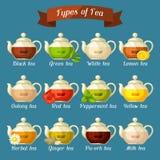 Types de thé Ensemble de bouilloires en verre avec différents goûts et ingrédients illustration stock