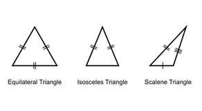 Types de triangles sur le vecteur blanc de fond Images stock