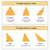Types de triangles sur le vecteur blanc de fond Photographie stock