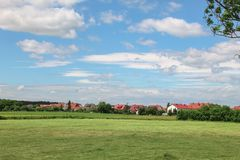 Types de villages allemands Querenhorst, Wolfsbourg, Allemagne photographie stock