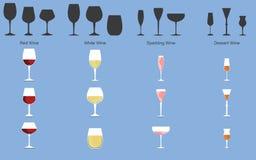 Types de vin et de verres illustration stock