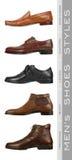 Types des chaussures des hommes Photos libres de droits