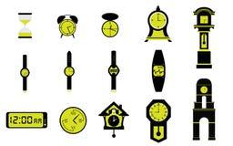 Types des montres et de temps d'horloges illustration stock