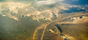 Types of desert lands  from airplane Stock Photos