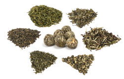 Types of elite chineese green tea Stock Photos