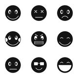 Types of emoticons icons set, simple style Stock Images