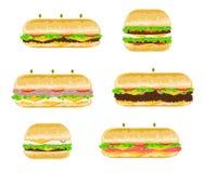 Types en aroma's van Sandwiches Stock Foto